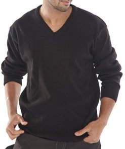 V-NECK ACRYLIC SWEATER - BLACK