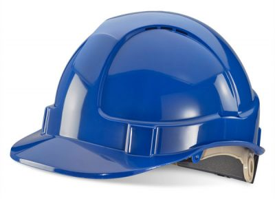 BLUE VENTED SAFETY HELMET WITH RATCHET