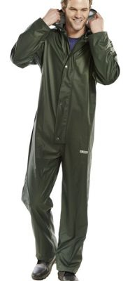 PU COATED POLYESTER COVERALL WITH HOOD - GREEN