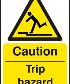 CAUTION TRIP HAZARD SELF ADHESIVE VINYL SIGN (PACK OF 5)