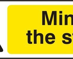 MIND THE STEP SELF ADHESIVE VINYL SIGN (PACK OF 5)