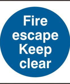 FIRE ESCAPE KEEP CLEAR SELF ADHESIVE VINYL SIGN (PACK OF 5)