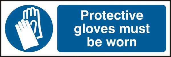 GLOVES MUST BE WORN SELF ADHESIVE VINYL SIGN (PACK OF 5)