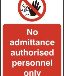 AUTHORISED PERSONNEL SELF ADHESIVE SIGN (PACK OF 5)