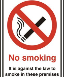 NO SMOKING SELF ADHESIVE VINYL SIGN (PACK OF 5)