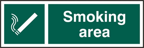 SMOKING AREA SELF ADHESIVE VINYL SIGN (PACK OF 5)