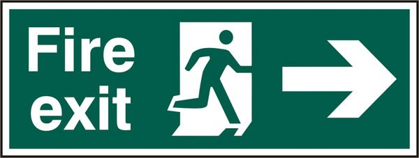 FIRE EXIT MAN ARROW RIGHT RIGID PVC SIGN (PACK OF 5)