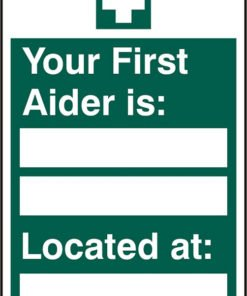 FIRST AIDER LOCATED SELF ADHESIVE VINYL SIGN (PACK OF 5)