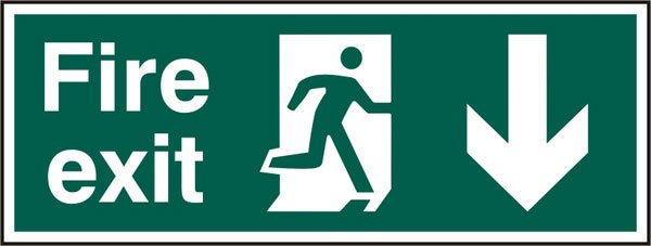 FIRE EXIT MAN ARROW DOWN RIGID PVC SIGN (PACK OF 5)