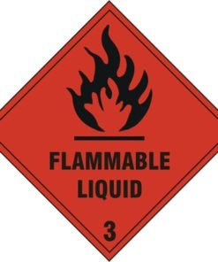 FLAMMABLE LIQUID 3 SIGN WITH SELF ADHESIVE BACKING (PACK OF 5)