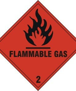 FLAMMABLE GAS 2 SIGN WITH SELF ADHESIVE BACKING (PACK OF 5)