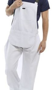 COTTON DRILL BIB & BRACE WHITE