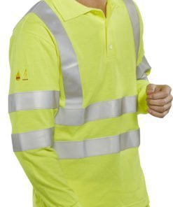 Flame retardant hi vis polo shirt
