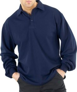 FLAME RETARDANT LONG SLEEVED POLO SHIRT NAVY