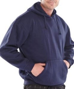 POLYCOTTON NAVY BLUE HOODED SWEATSHIRT