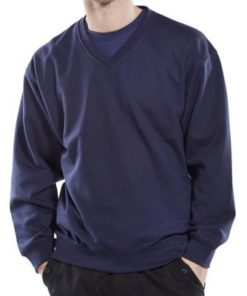 V-NECK POLYCOTTON NAVY FLEECE SWEATSHIRT