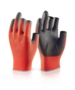 PU COATED 3 FINGERLESS RED GLOVES (BOX OF 100)