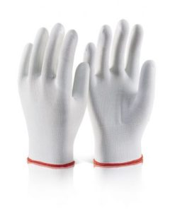 WHITE POLYESTER KNITTED LINER GLOVES (PACK OF 10)