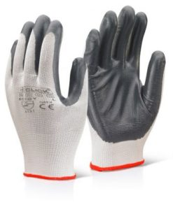 NITRILE PALM COATED POLYESTER GREY GLOVES (BOX OF 100)