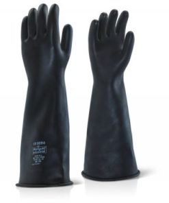 LATEX HEAVYWEIGHT GAUNTLET BLACK GLOVES 17""