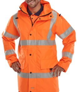 HI VIS WATERPROOF JACKET WITH HOOD