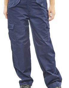 LADIES POLYCOTTON NAVY TROUSERS