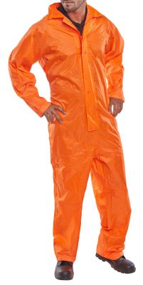 LIGHTWEIGHT NYLON COVERALL WITH PVC COATING AND HOOD