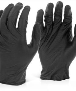 NITRILE DISPOSABLE BLACK GRIPPER GLOVES