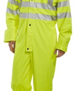 YELLOW COVERALL HI VIS PU FABRIC