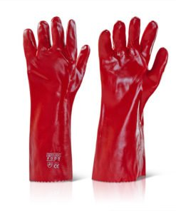 "PVC GAUNTLET RED 16"" OPEN CUFF GLOVES"