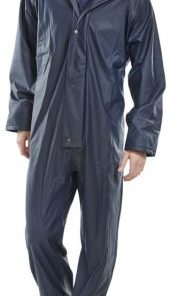 NAVY POLYESTER COVERALL WITH PU COATING