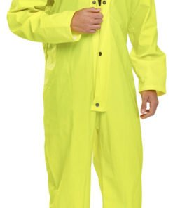 YELLOW POLYESTER COVERALL WITH PU COATING