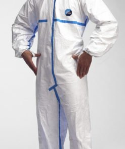 LIGHTWEIGHT WHITE HOODED DISPOSABLE COVERALL