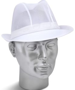 DISPOSABLE WHITE TRILBY HAT