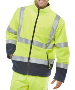 HI VIS FLEECE YELLOW AND NAVY