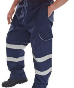 NAVY POLYESTER OVERTROUSERS WITH PU COATING