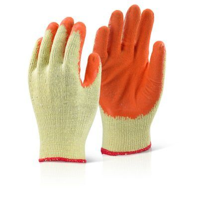 Palm coated work gloves in orange and yellow