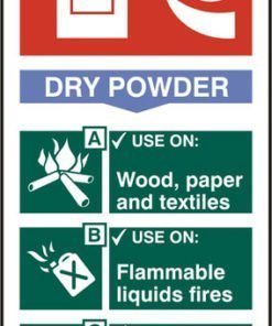 FIRE EXTINGUISHER SAFETY SIGN DRY POWDER RIGID PVC