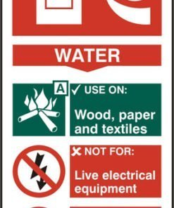 FIRE EXTINGUISHER SAFETY SIGN WATER SELF ADHESIVE