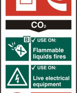 FIRE EXTINGUISHER SAFETY SIGN C02 RIGID PVC
